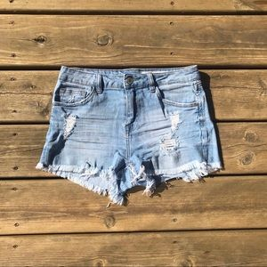 papaya high rise denim short